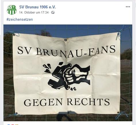 14.10.18: Aktion gegen Rechts und für Fairplay beim SV Brunau