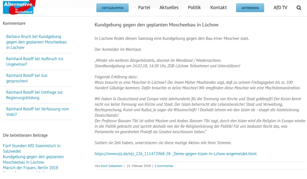 Screenshot Aufruf NPD-Kundgebung Lüchow
